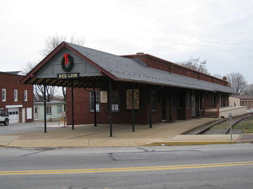 Photograph of a former railroad station in Red Lion, a town in York County, PA.  It was built by the Maryland and Pennsylvania Railroad, known affectionately as the Ma and Pa RR.