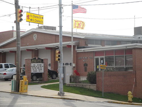Red Lion Fire Department, at State Route 74 - Broadway at Charles Street, Red Lion, York County, Pa.